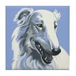 Borzoi Portrait White-Blue Tile Coaster