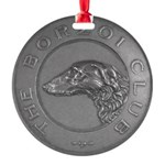 The Borzoi Club Vintage Silver Medallion Ornament