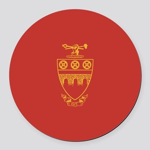 Theta Tau Fraternity Crest in Yel Round Car Magnet