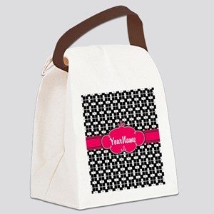 Black Pink Personalized Pattern Canvas Lunch Bag