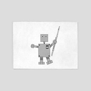Flute Robot 5'x7'Area Rug