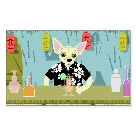 Chihuahua Tiki Bar Rectangle Sticker