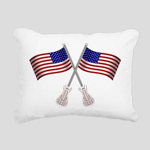 American Flag Lacrosse S Rectangular Canvas Pillow