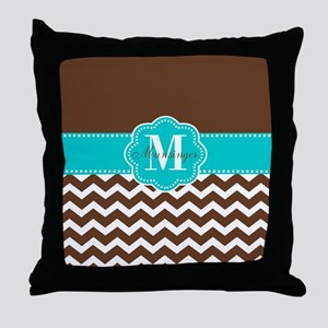 Brown Teal Chevron Personalized Throw Pillow