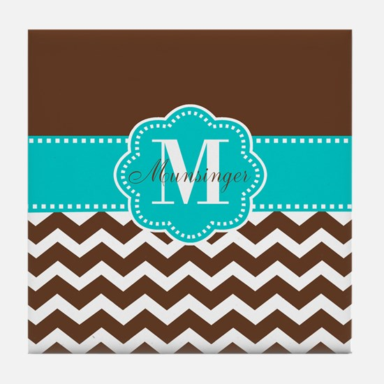 Brown Teal Chevron Personalized Tile Coaster