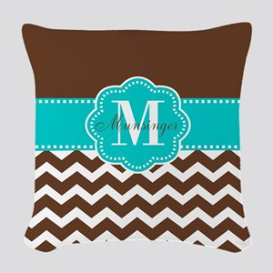 Brown Teal Chevron Personalized Woven Throw Pillow