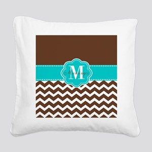Brown Teal Chevron Personalized Square Canvas Pill