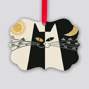 Black and White Cat; Vintage Poster Ornament