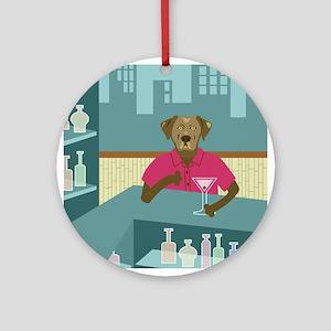 Chocolate Labrador Retriever Martini Ornament
