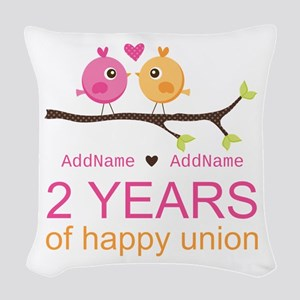 Two Years Of Happy Union Woven Throw Pillow