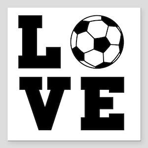 """Soccer love Square Car Magnet 3"""" x 3"""""""