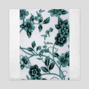 Turquoise Wild Flower Queen Duvet