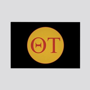 Theta Tau Fraternity Letters in R Rectangle Magnet