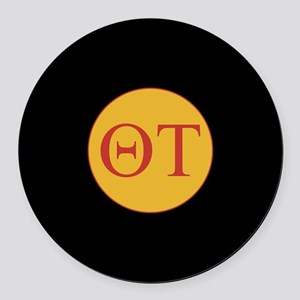 Theta Tau Fraternity Letters in R Round Car Magnet