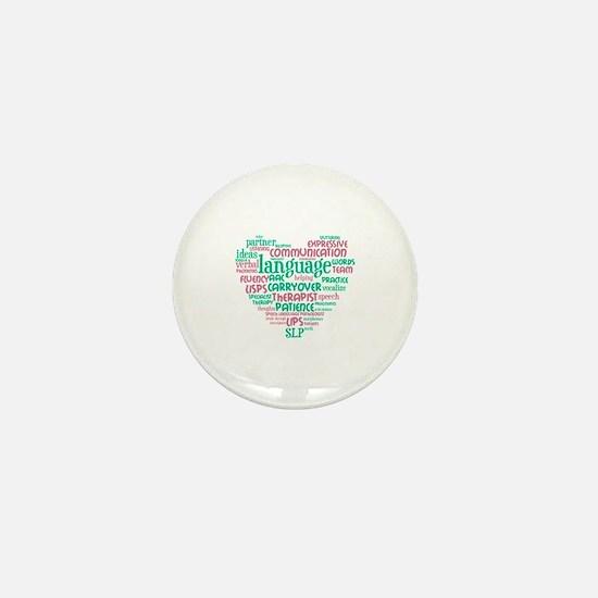 SLP Heart - Pink and Green Mini Button