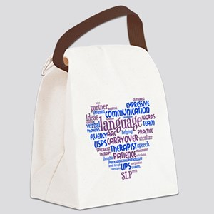 SLP Heart - Blue and Purple Canvas Lunch Bag