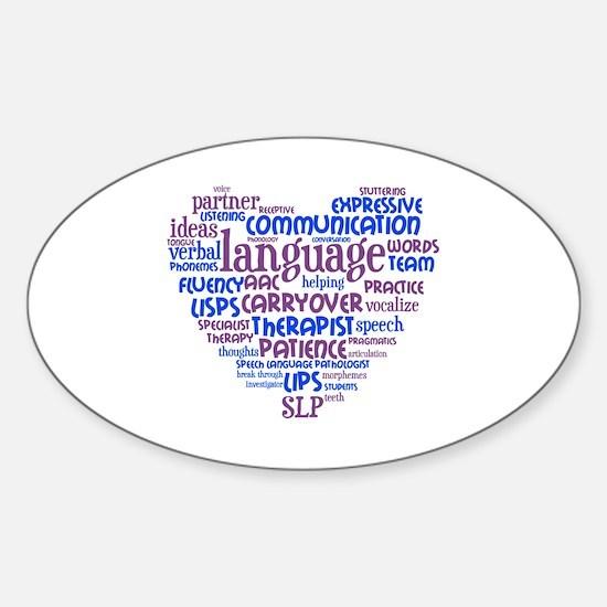 SLP Heart - Blue and Purple Sticker (Oval)