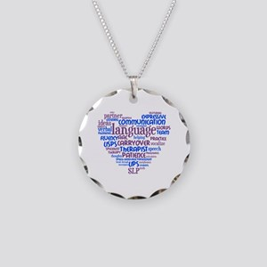 SLP Heart - Blue and Purple Necklace Circle Charm