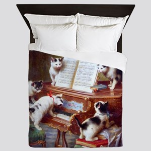 Cats on a Piano; Vintage Poster Queen Duvet
