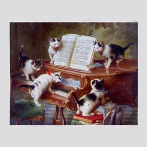 Cats on a Piano; Vintage Poster Throw Blanket
