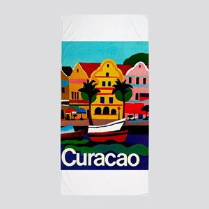 Curacao; Travel Vintage Poster Beach Towel