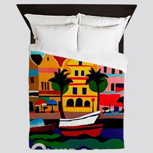 Curacao; Travel Vintage Poster Queen Duvet