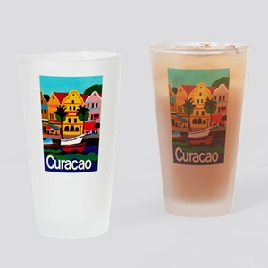 Curacao; Travel Vintage Poster Drinking Glass