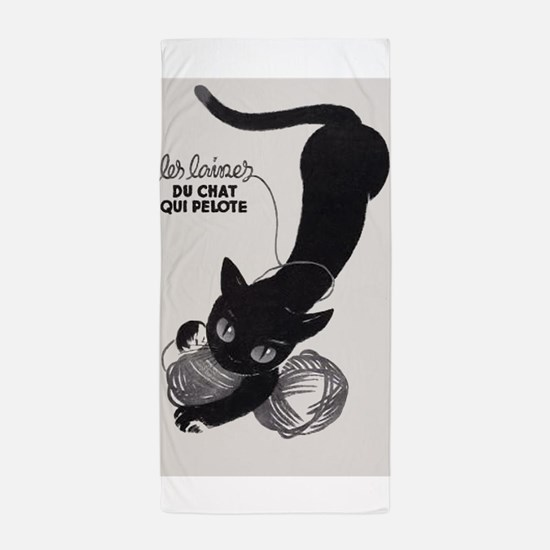 Cat and Yarn; French Vintage Poster Beach Towel