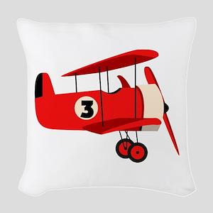 Vintage Airplane Woven Throw Pillow