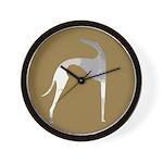 Hound Silhouette Mocha Wall Clock