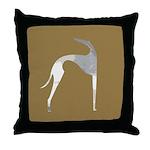 Hound Silhouette Mocha Throw Pillow