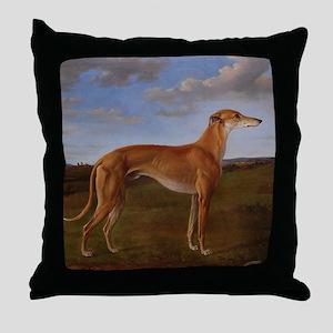 Vintage Greyhound Painting Throw Pillow