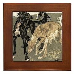 Saluki Pair Framed Tile