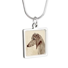 Saluki Head Study Silver Square Necklace