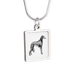 Saluki Silhouette Silver Necklace