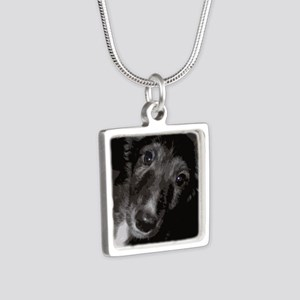 Silken Puppy Love Silver Square Necklace