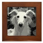 Silken Windhound Portrait Framed Tile