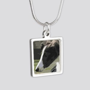 Silken Puppy Silver Square Necklace