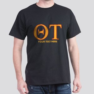 Theta Tau Fraternity Letters in Yello Dark T-Shirt