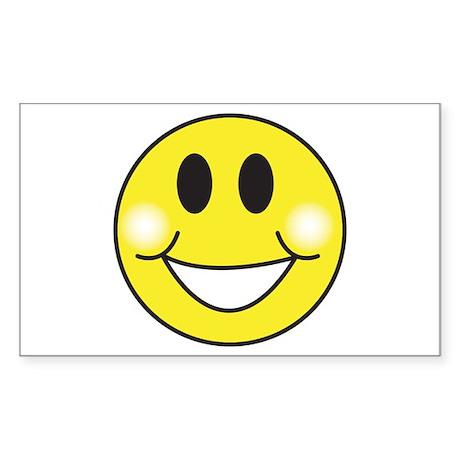 Retro-Style Smiley Face Rectangle Sticker