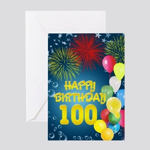 100th birthday, with fireworks and balloons Greeti