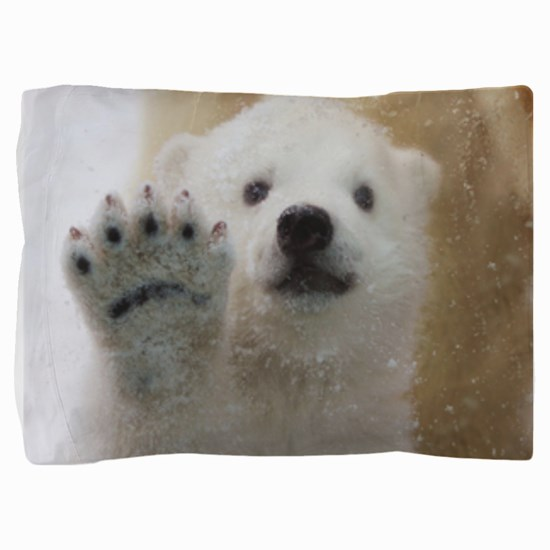 Cute Polar Bear Cub Waving Pillow Sham