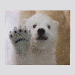 Cute Polar Bear Cub Waving Throw Blanket