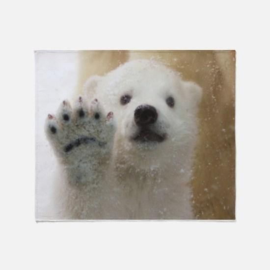 Cute Polar Bear Cub Waving Throw Blanket