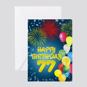 Different greeting cards cafepress 77th birthday with fireworks and balloons greetin m4hsunfo