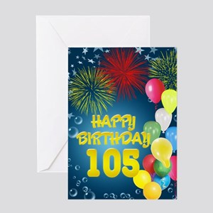 105th birthday, with fireworks and balloons Greeti