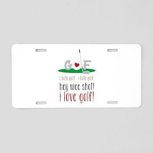 I Love Golf Aluminum License Plate