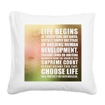 Life Begins At Conception Square Canvas Pillow