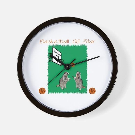 Basketball Raccoon Wall Clock