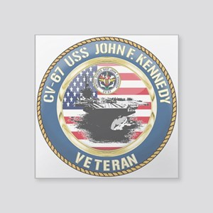 "CV-67 USS John F. Kennedy Square Sticker 3"" x 3"""